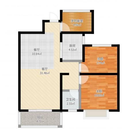 保利香槟国际2室1厅1卫1厨83.00㎡户型图