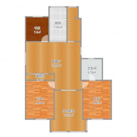 映月苑3室2厅1卫2厨128.00㎡户型图