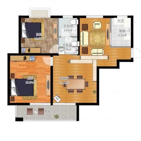 滨湖品阁2室2厅1卫1厨97.00㎡户型图