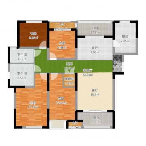 建屋海德公园4室2厅2卫1厨156.00㎡户型图