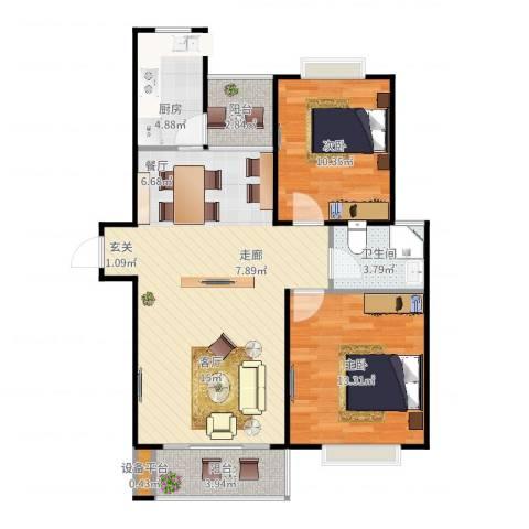 滨湖品阁2室2厅1卫1厨95.00㎡户型图