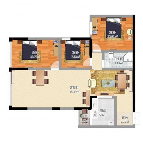 金源达・时代广场3室2厅1卫1厨113.00㎡户型图