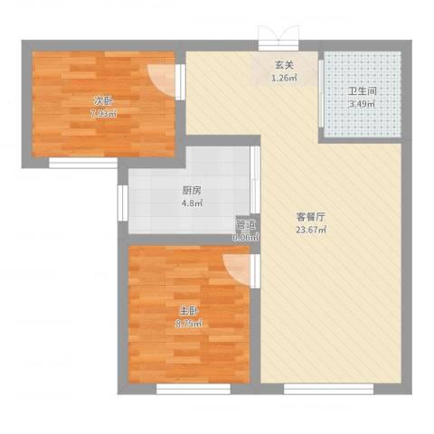 万晟幸福里2室2厅2卫1厨61.00㎡户型图