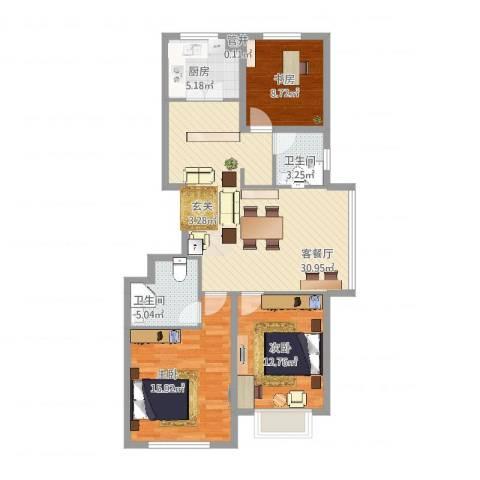 滨湖家园3室2厅2卫1厨115.00㎡户型图