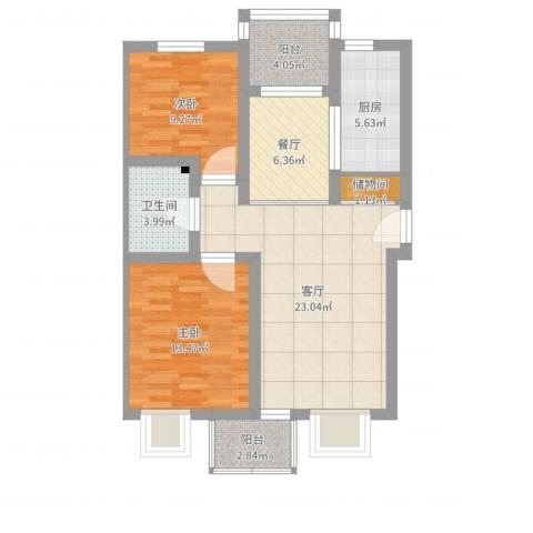 宝坻城市艺墅2室2厅1卫1厨87.00㎡户型图