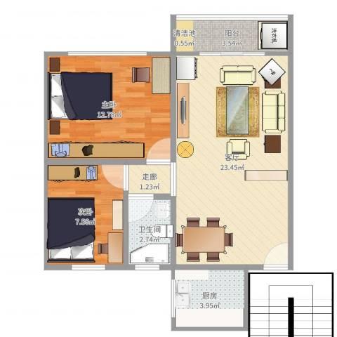 翡翠山庄2室1厅1卫1厨55.25㎡户型图