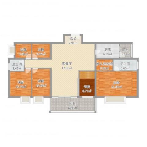 福星豪庭5室2厅2卫1厨183.00㎡户型图