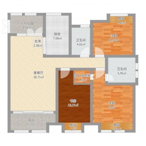鸿舜御峰3室2厅2卫1厨119.00㎡户型图