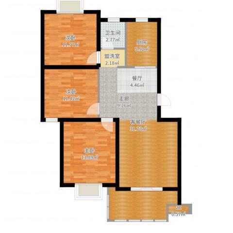 仙林诚品城3室2厅3卫1厨108.00㎡户型图