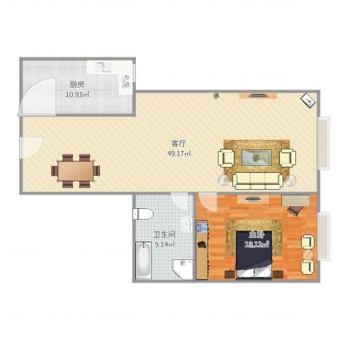 建外SOHO西区1室1厅1卫1厨110.00㎡户型图
