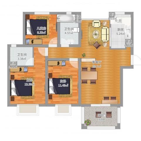 中星・外滩印象花园3室2厅2卫1厨104.00㎡户型图