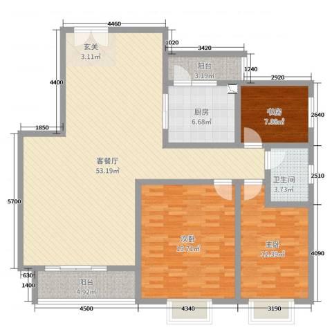 馨雅如3室2厅1卫1厨137.00㎡户型图