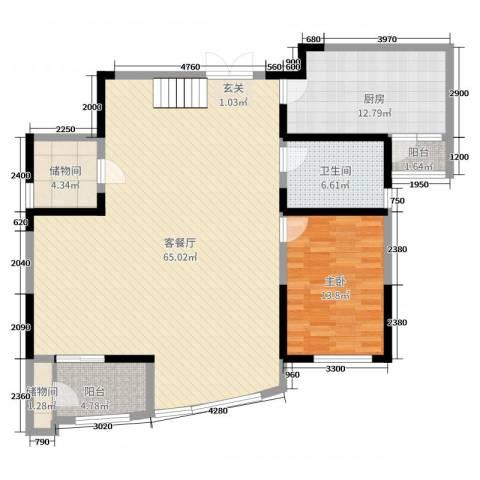 凯创城市之巅1室2厅1卫1厨123.09㎡户型图