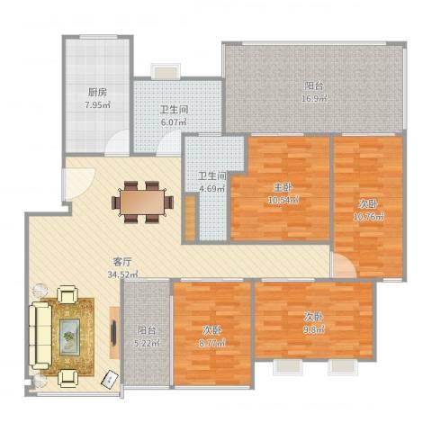 特房美地雅登4室1厅2卫1厨145.00㎡户型图