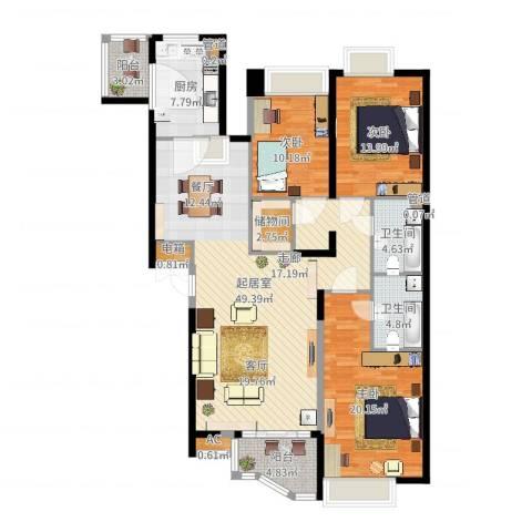 国美第一城3室1厅4卫2厨154.00㎡户型图
