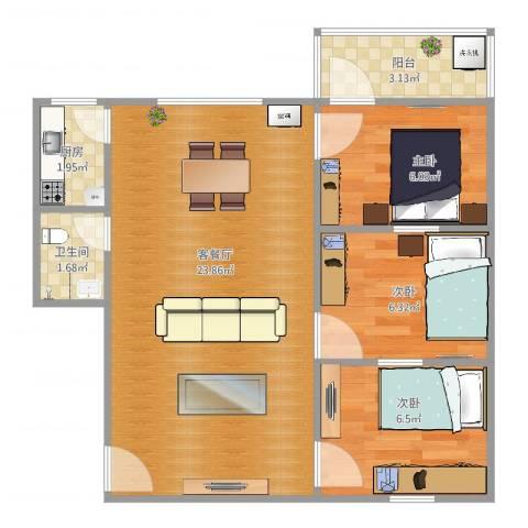 中兴苑3室2厅1卫1厨62.00㎡户型图
