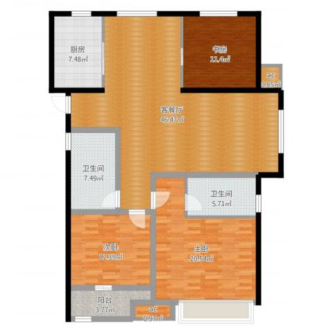 曦城花语3室2厅4卫1厨146.00㎡户型图