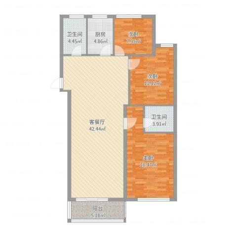 稽山南苑三期3室2厅2卫1厨123.00㎡户型图