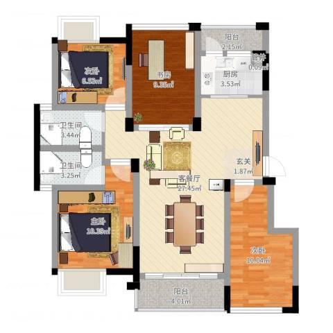 南湖学府4室2厅2卫1厨100.00㎡户型图