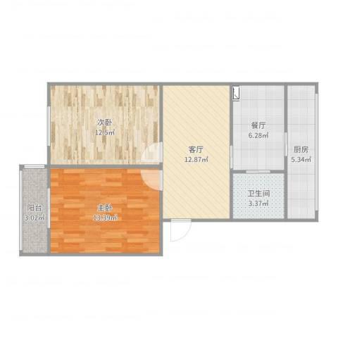 泉华小区2室2厅1卫1厨71.00㎡户型图