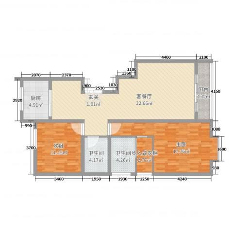 上东阳光2室2厅2卫1厨117.00㎡户型图