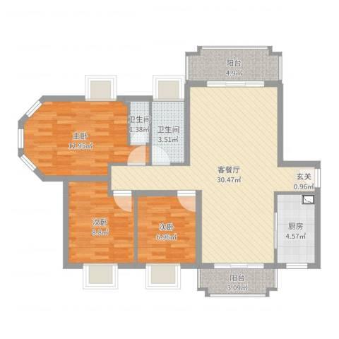 新君汇花地湾3室2厅2卫1厨96.00㎡户型图