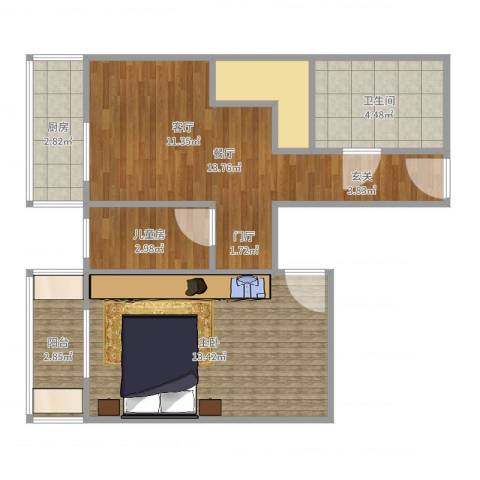 麦格理晓星园2室1厅1卫1厨53.00㎡户型图