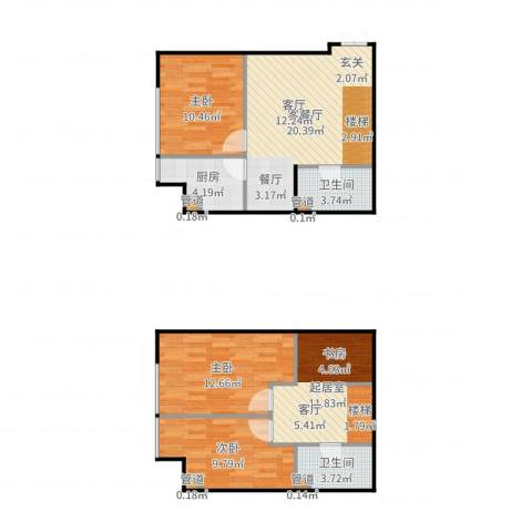 诚基中心3室2厅2卫1厨97.00㎡户型图