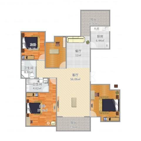 济民可信艾溪康桥2室1厅2卫1厨142.00㎡户型图