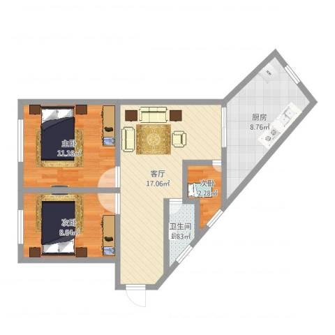 燕塘广场3室1厅1卫1厨62.00㎡户型图