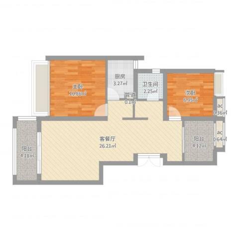 绿地布鲁斯小镇公寓2室2厅1卫1厨74.00㎡户型图