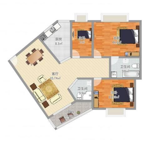 五山花园3室1厅2卫1厨117.00㎡户型图