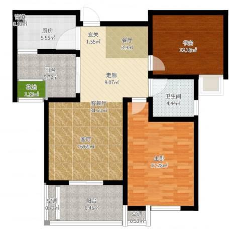 清流水韵2室2厅3卫3厨107.00㎡户型图