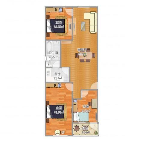 陶庄小区3室2厅1卫1厨94.00㎡户型图