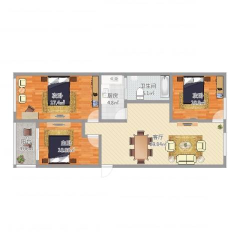 陶庄小区3室1厅1卫1厨104.00㎡户型图