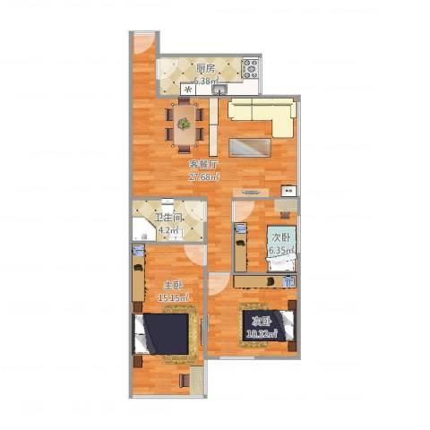 晓港湾3室2厅1卫1厨86.00㎡户型图