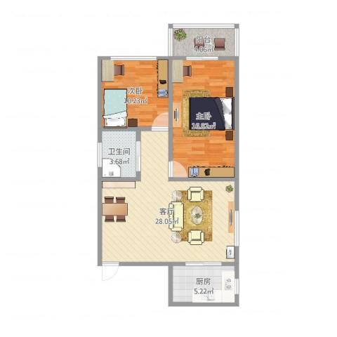 建丽花园2室1厅1卫1厨85.00㎡户型图