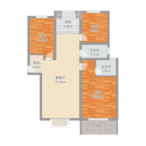 金色维也纳3室2厅2卫1厨124.00㎡户型图