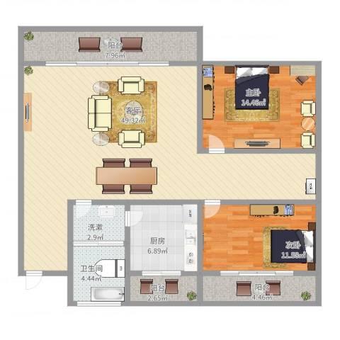 九亭明珠苑2室1厅1卫1厨131.00㎡户型图