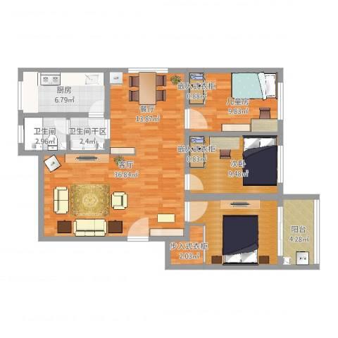 岳庄小区---三室两厅110平—0012室1厅1卫1厨109.00㎡户型图