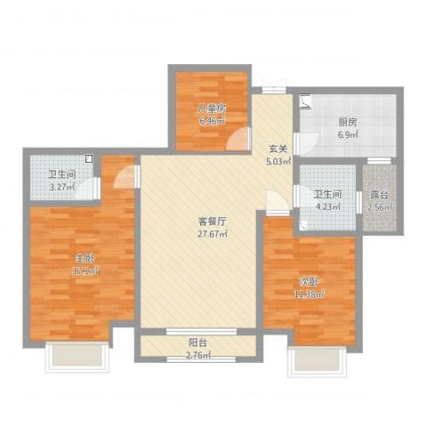 国耀上河城3室2厅2卫1厨103.00㎡户型图