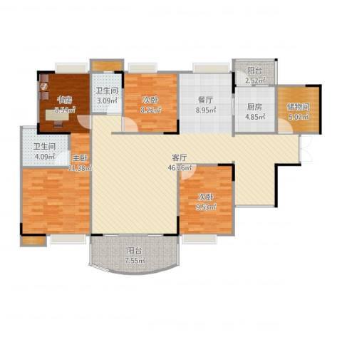 清晖花园泰阳苑3室1厅2卫1厨142.00㎡户型图