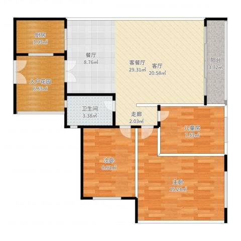 万科金色康苑3室2厅1卫1厨98.00㎡户型图