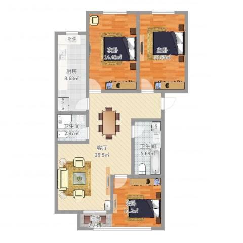 海怡花园(浦东)3室1厅2卫1厨107.00㎡户型图