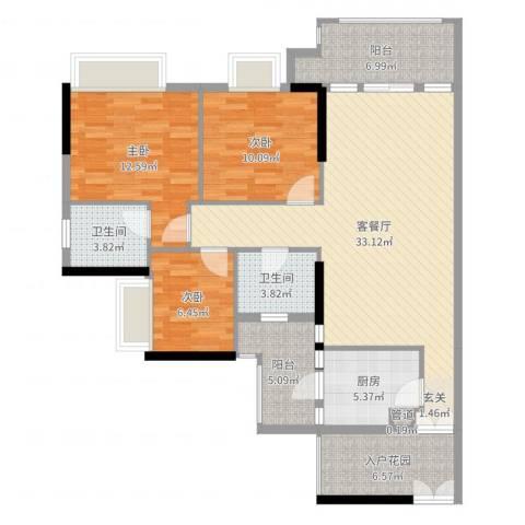 新世界东逸花园3室2厅2卫1厨118.00㎡户型图