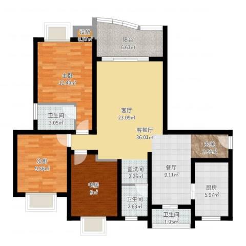美堤雅城(二期)3室2厅3卫1厨110.00㎡户型图