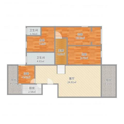 龙洲湾花园223户型4室1厅2卫1厨99.00㎡户型图