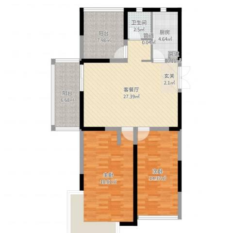 大唐世纪豪庭2室2厅1卫1厨103.00㎡户型图