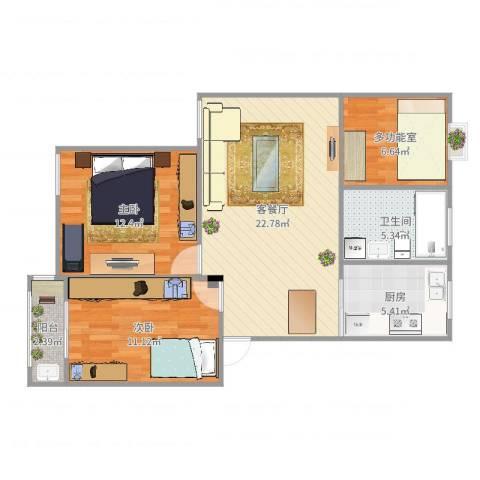 春晖佳苑2室2厅1卫1厨83.00㎡户型图