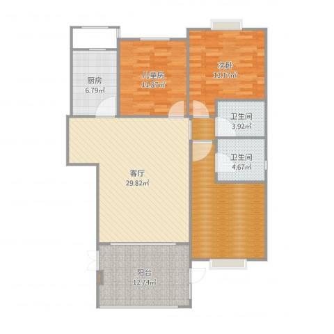 御府天苑2室1厅2卫1厨124.00㎡户型图